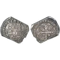 Mexico City, Mexico, klippe 8 reales, 1733MF, NGC XF 45.