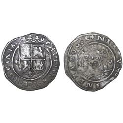Lima, Peru, 1 real, Philip II, assayer R to left, motto PL-VS-V above dot, legends HISPANIA / NIARVM