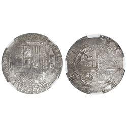 Lima, Peru, cob 2 reales, Philip II, assayer Diego de la Torre, *-ii to left, P-oD to right, NGC XF