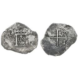 "Lima, Peru, cob 2 reales, 1659V, ""Star of Lima"" type (Series 1A), mintmark LIMA, V to left, 2 to rig"