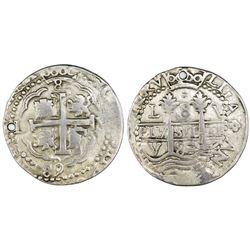 Lima, Peru, cob 8 reales Royal, 1689V.