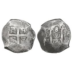 Lima, Peru, cob 8 reales, 1727M.