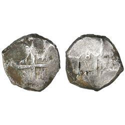 Lima, Peru, cob 8 reales, 1745(V), rare.