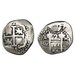 Lima, Peru, cob 2 reales, 1696, assayer oH, very rare.