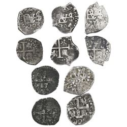 Lot of five Lima, Peru, cob 1/2R, Philip V, dates as follows: 1703, 1704, 1712, 1717 and 1720.