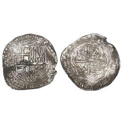Potosi, Bolivia, cob 8 reales, Philip II, assayer B (late 3rd period), borders of boxes.
