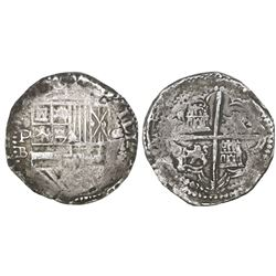 Potosi, Bolivia, cob 8 reales, Philip II, assayer B (5th period).
