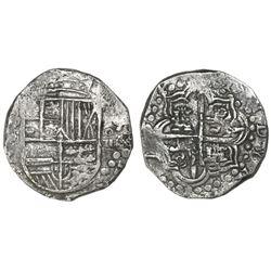 Potosi, Bolivia, cob 8 reales, Philip III, assayer T (ca. 1620).