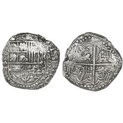 Potosi, Bolivia, cob 8 reales, Philip III, assayer not visible (ca. 1620), quadrants of cross transp