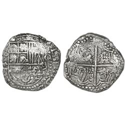 Potosi, Bolivia, cob 8 reales, Philip III, assayer not visible (ca. 1620), quadrants of cross transp