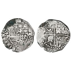 Potosi, Bolivia, cob 8 reales, assayer P (1622), upper half of shield transposed, lions and castles