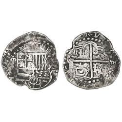 "Potosi, Bolivia, cob 8 reales, Philip IV, assayer T (ca. 1622), mintmark P over reversed P (""phi"")."
