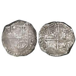 Potosi, Bolivia, cob 8 reales, Philip IV, assayer not visible, quadrants of cross transposed (mid-16