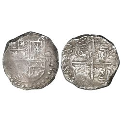 Potosi, Bolivia, cob 8 reales, Philip IV, assayer not visible, quadrants of cross transposed (mid-16