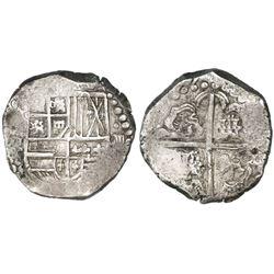 Potosi, Bolivia, cob 8 reales, (162)7T, quadrants of cross transposed, rare.