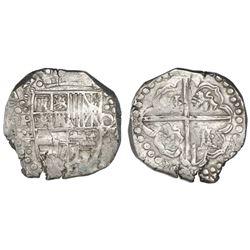 Potosi, Bolivia, cob 8 reales, Philip IV, assayer T (ca. 1629), denomination o-VIII and heavy-dot bo