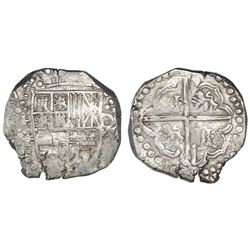Potosi, Bolivia, cob 8 reales, Philip IV, assayer T (ca. 1629), denomination o-VIII and heavy-dot bo