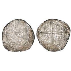Potosi, Bolivia, cob 8 reales, Philip IV, assayer T (ca. 1630).