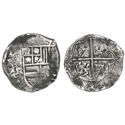 Potosi, Bolivia, cob 8 reales, Philip IV, assayer FR (ca. 1640).