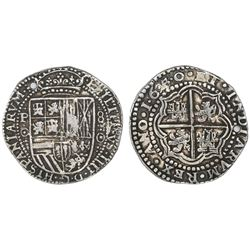 Potosi, Bolivia, cob 8 reales Royal, 1650O, NGC XF details / holed.