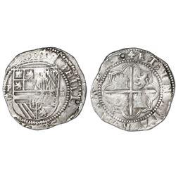 Potosi, Bolivia, cob 4 reales, Philip II, assayer L/L (1st period).