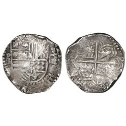 Potosi, Bolivia, cob 4 reales, Philip III, assayer RL (curved leg).