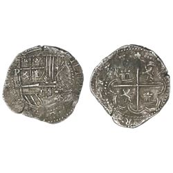 Potosi, Bolivia, cob 2 reales, Philip II, assayer B (4th period).