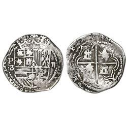 Potosi, Bolivia, cob 2 reales, Philip II, assayer B (5th period), borders of x's.