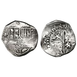Potosi, Bolivia, cob 2 reales, 1627P/T, quadrants of cross transposed, extremely rare.
