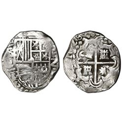Potosi, Bolivia, cob 2 reales, 1628P, lions and castles transposed in cross and shield, upper half o