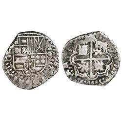 Potosi, Bolivia, cob 2 reales, Philip IV, assayer O, style of 1650-51.