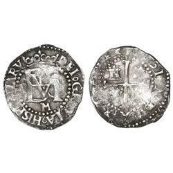 Potosi, Bolivia, cob 1/2 real, Philip II, assayer M below monogram.