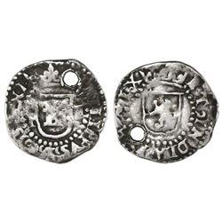 Potosi, Bolivia, cob 1/4 real, Philip II, assayer L to right, mintmark P to left, very rare.