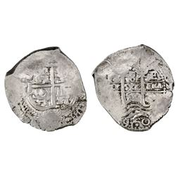 Potosi, Bolivia, cob 8 reales, 1658E, pomegranate above cross.