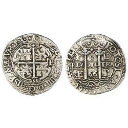 Potosi, Bolivia, cob 8 reales Royal, 1666E.