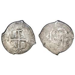 Potosi, Bolivia, cob 8 reales, 1697CH, rare, NGC XF 40 (extra-thick slab).