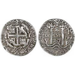Potosi, Bolivia, cob 8 reales Royal, 1707Y.
