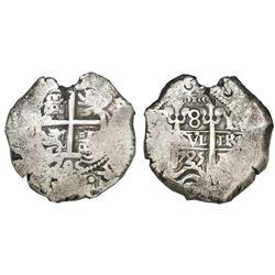 Potosi, Bolivia, cob 8 reales, 1725Y, Louis I, rare, NGC VF 30 (extra-thick slab).