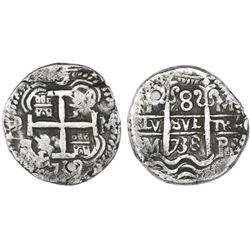 Potosi, Bolivia, cob 8 reales Royal, 1738M, rare.