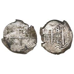 Potosi, Bolivia, cob 8 reales, 1740M.