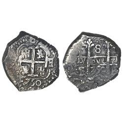 Potosi, Bolivia, cob 8 reales, 1750E/q, retrograde E to right of cross.