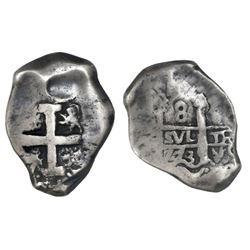 Potosi, Bolivia, cob 8 reales, 1773V-(Y), assayer V at bottom right (rare).