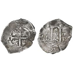 Potosi, Bolivia, cob 4 reales, 1664E.
