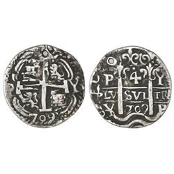 Potosi, Bolivia, cob 4 reales Royal, 1709Y, very rare, KM Plate Coin.