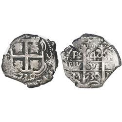 Potosi, Bolivia, cob 4 reales, 1730M, NGC VF 35.