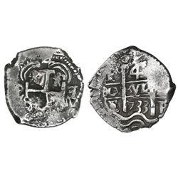 Potosi, Bolivia, cob 4 reales, 1733E/YA, retrograde E/YA to right of cross, very rare.