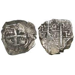 Potosi, Bolivia, cob 4 reales, 1738/7M, unique overdate.
