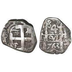 Potosi, Bolivia, cob 4 reales, 1763V-Y.