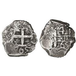 Potosi, Bolivia, cob 4 reales, 1765(V)-Y.