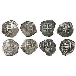 Lot of four Potosi, Bolivia, cob 4 reales, Charles III, dates and assayers as follows: 1762(V-Y), 17